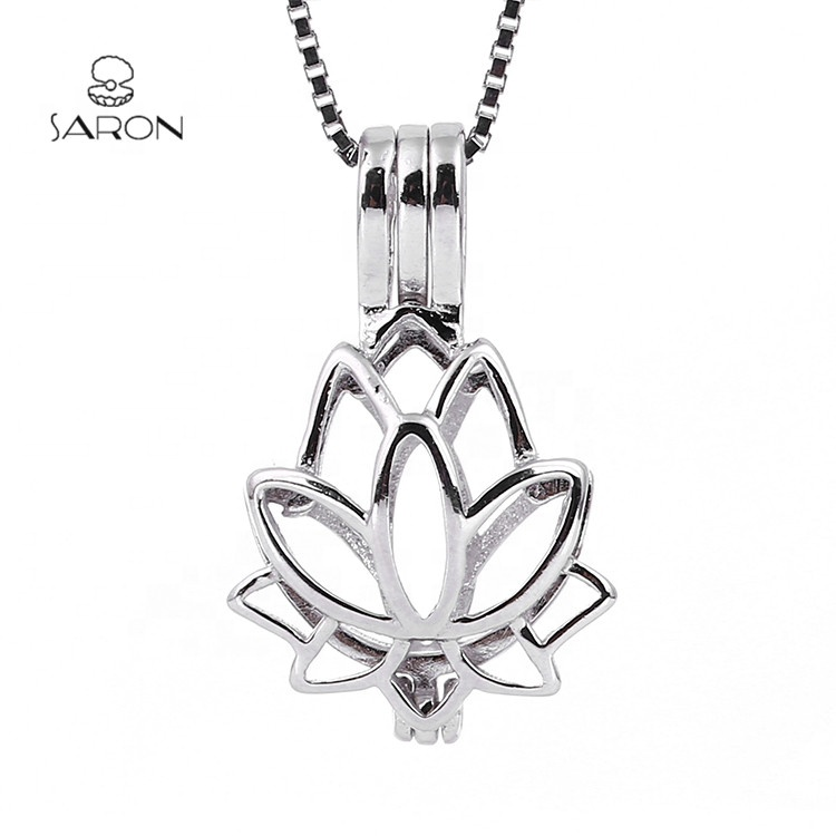 Sharon Fashion Jewelry Locket Sterling Silver Lotus Flower Blossom