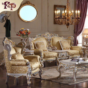 Luxury Classic Home Furniture  Antique Style Hand Carved Solid Wood Sofa Set