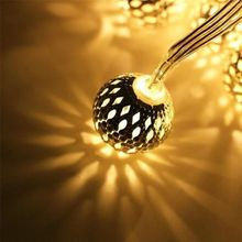 Battery Operated Moroccan Ball String Lights 40 LED 25.8ft Waterproof Fairy Lantern Decor Lighting for Garden Christmas Tree