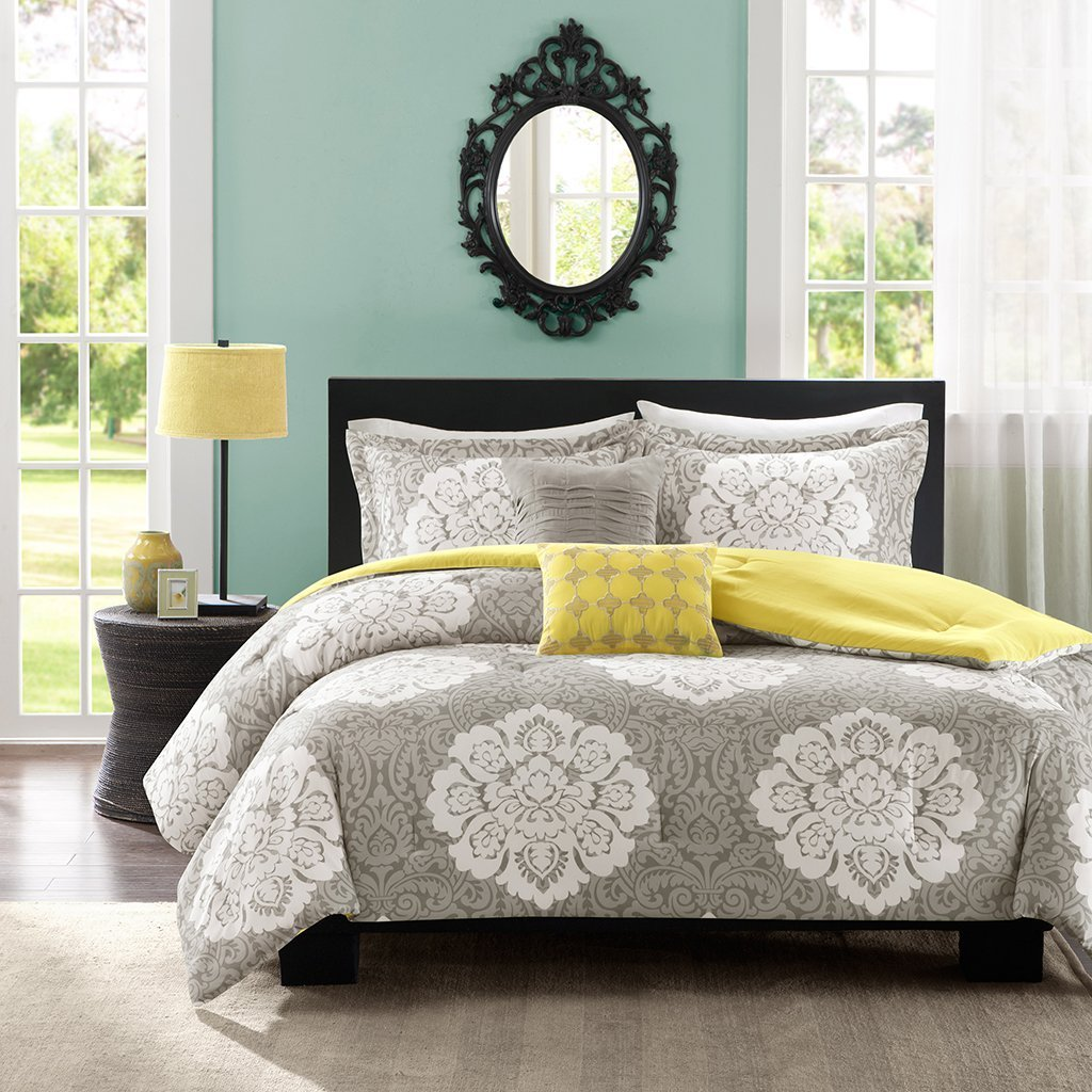 Reversible Modern Grey and Yellow Floral Damask Print Comforter Girls Teen Bedding Set Full/queen or Twin/twin Xl (twin/twin xl)