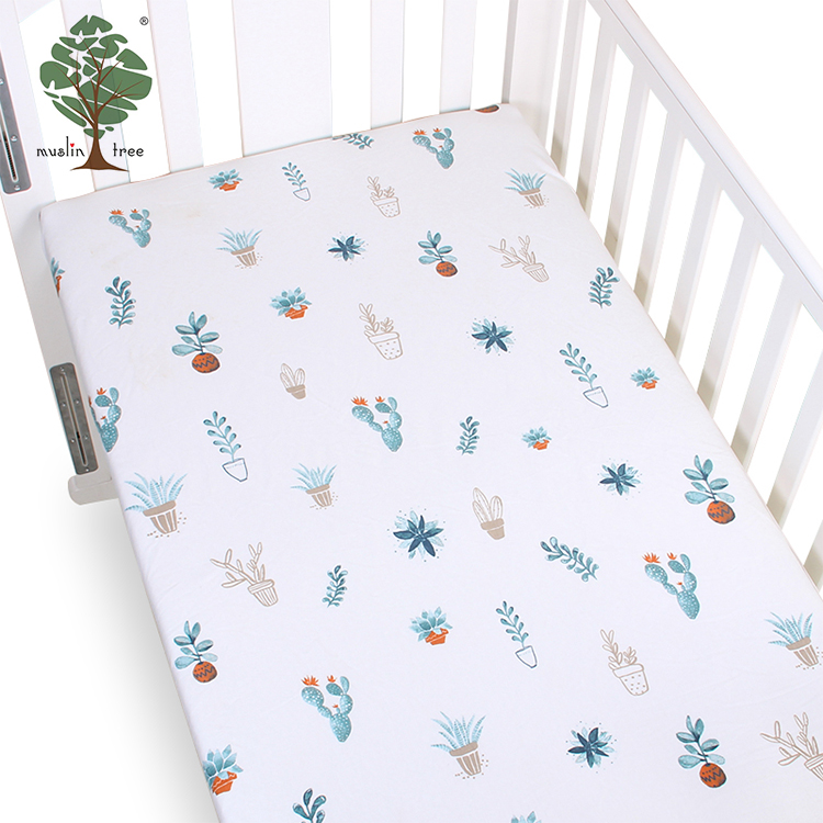 Muslin tree 100% cotton cute baby fitted bed <strong>sheet</strong>, baby fitted crib <strong>sheet</strong> set