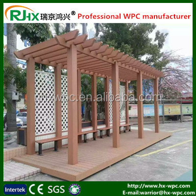 wood plastic composite deck for public station and leisure square center pergola design