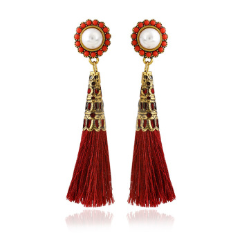 New Fashionable Spring Design Earring For Lady Artificial Pearl With Rhinestone Tel Ethnic