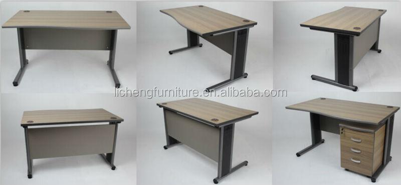 Hot Sale Simple Wood Office Desk With Metal Legsoffice Table