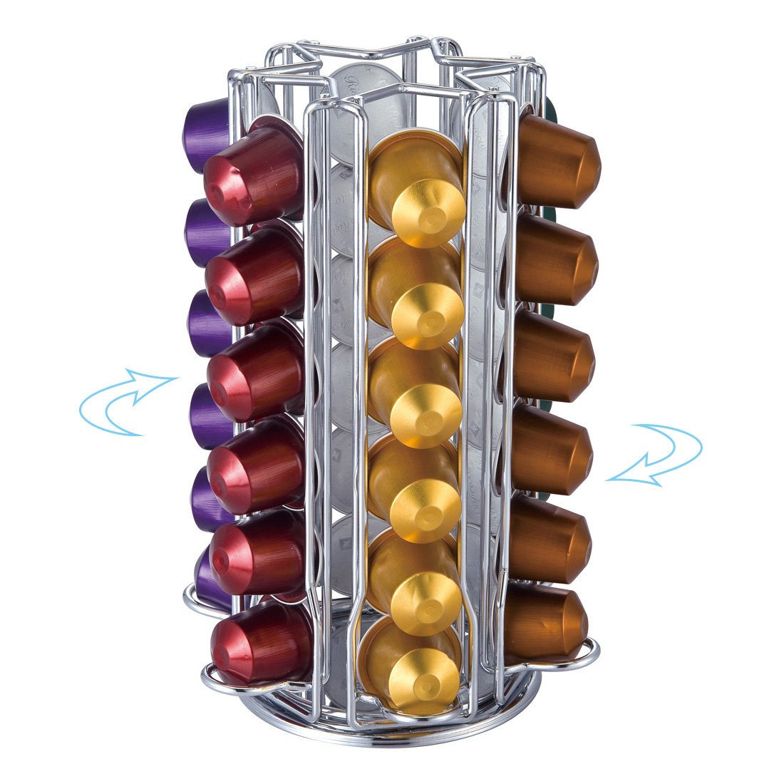 Get Quotations · Meelio Metal Rotative Nespresso Coffee Pod Holder For 36  Nespresso Originaline Pods,Carousel Standing Storage