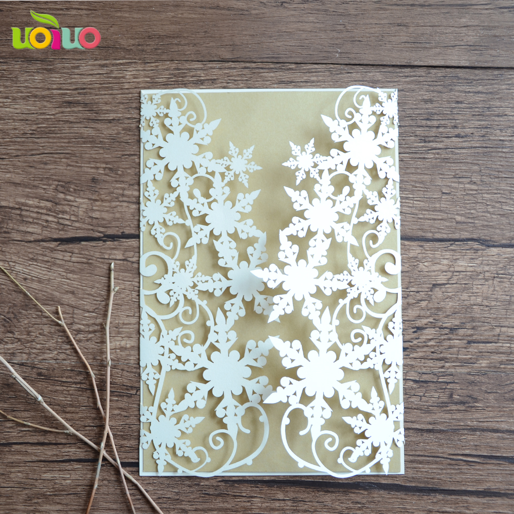 Fancy white pearl paper laser cutting greeting card model handwork greeting card wholesale