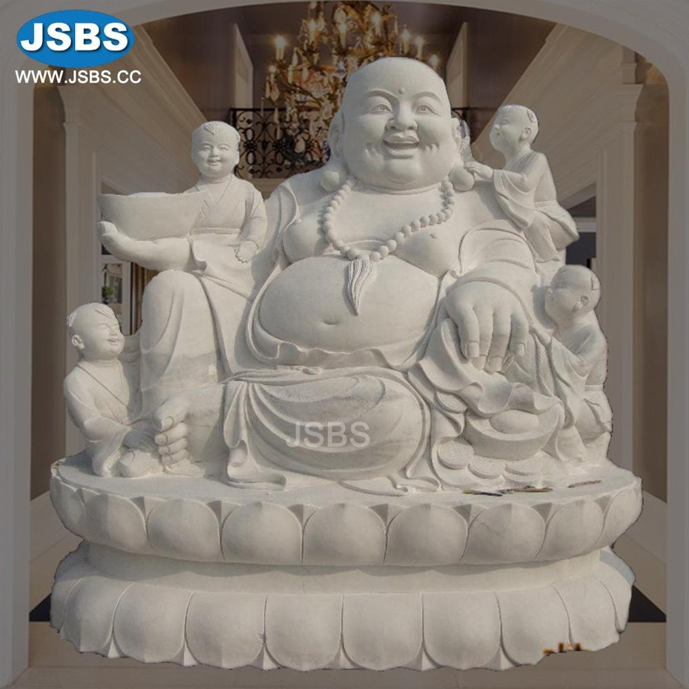 White Stone Large Laughing Buddha Garden Statues For Sale