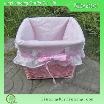 Wholesale Square Pink Wicker Gift Baskets Supplies Gift Baskets For