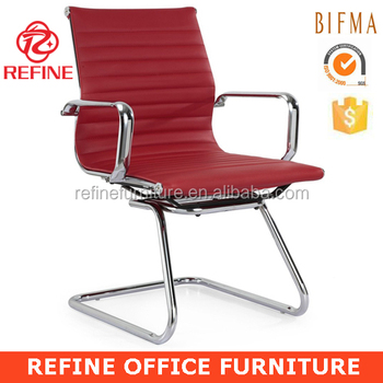 Modern Red Leather Office Visitor Guest Chair With Metal Arms Rf V053b