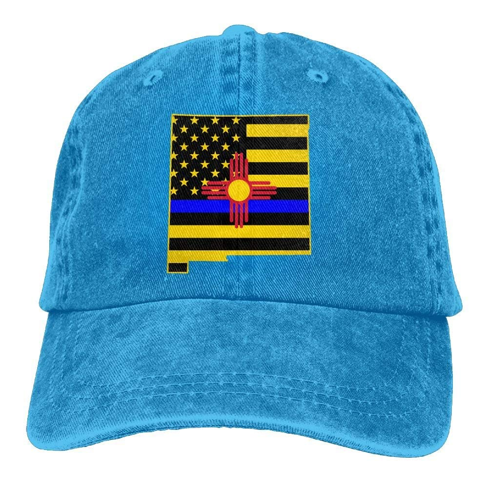 Get Quotations · ICESALT Unisex Adult New Mexico Blue Thin Line Flag  Distressed Cotton Denim Baseball Cap Hat 804b330aa9ce