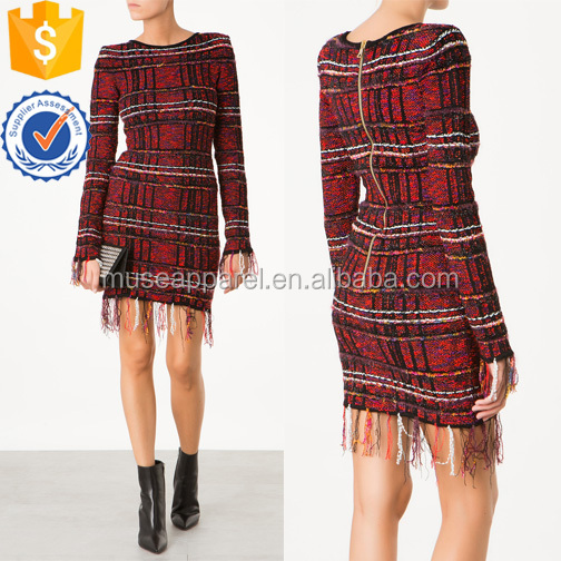 Tweed Fringed Mini Dress OEM/ODM Women Apparel Clothing Garment Wholesaler Ropa Mujer