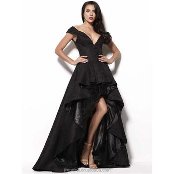 New Design Deep V-neck Cap Sleeve Black High Low Evening Dresses ...