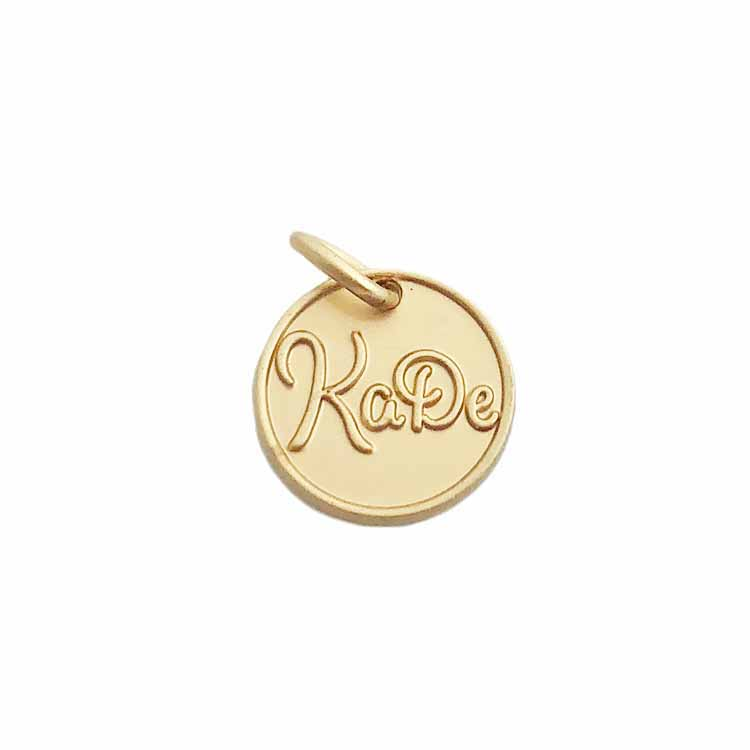 Quan zhou embossed matte gold brand logo custom metal pendants charms jewelry tags for shoelace