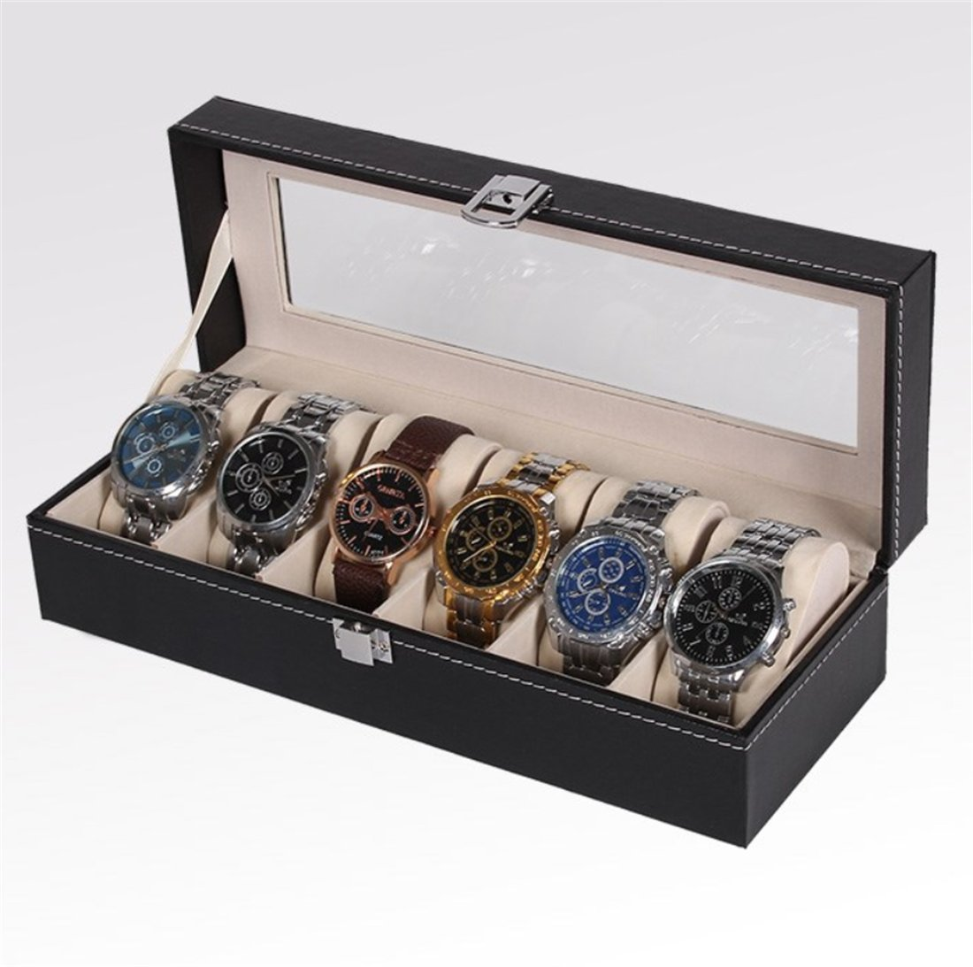 Buy Dower Watch Box With Valet Drawer For Men 6 Slot Luxury