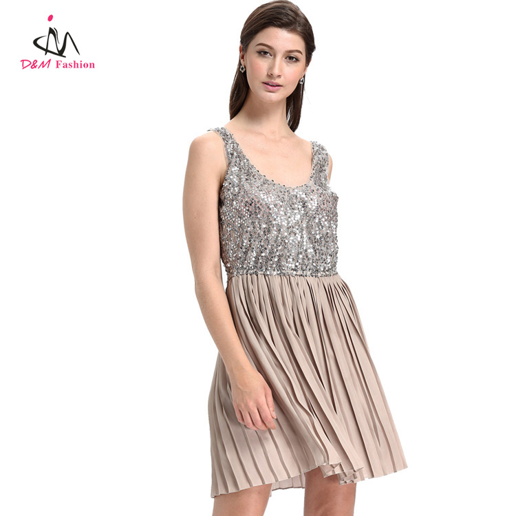 Ladies Summer Fashion Short Loose Dress Backless Elastic Waist Tunic Night Club Party Sequin Pleated Dress