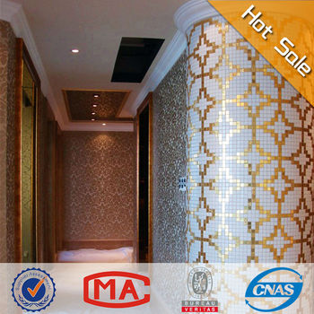 Premium Mosaic Tile For Home Decoration Wall Tile Chinese Golden Coin Glass Mosaic Kitchen Wall Tiles