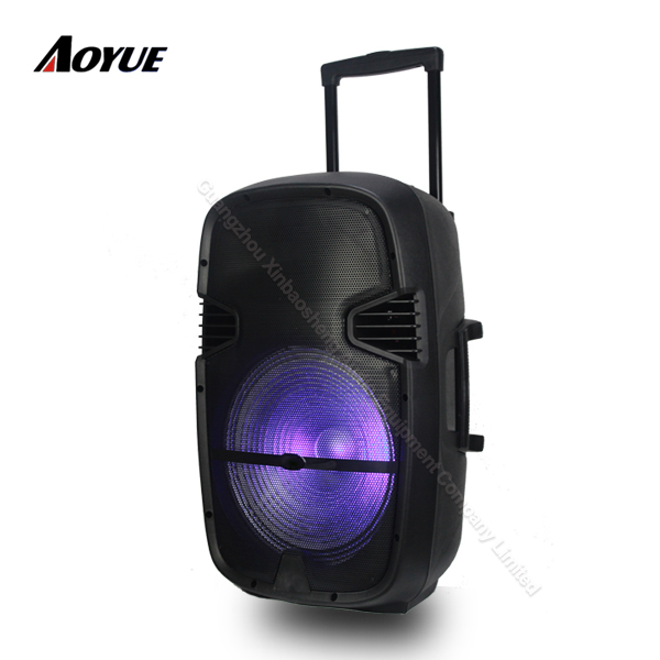 15 inch portable karaoke with trolley rechargeable trolley portable active speaker with light
