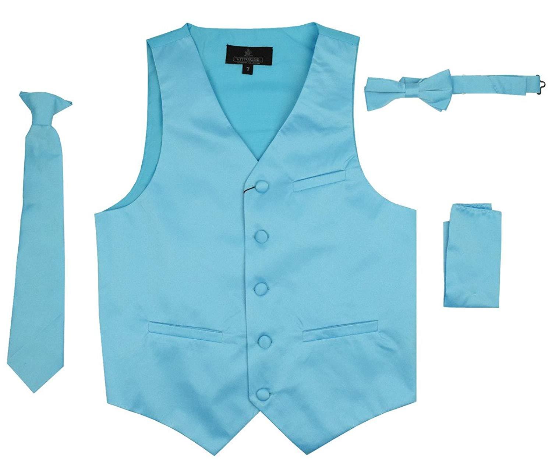 4a80e2f9f19a Vittorino Boy s 4 Piece Formal Satin Tuxedo Vest Set with Vest Tie Bowtie  Handkerchief