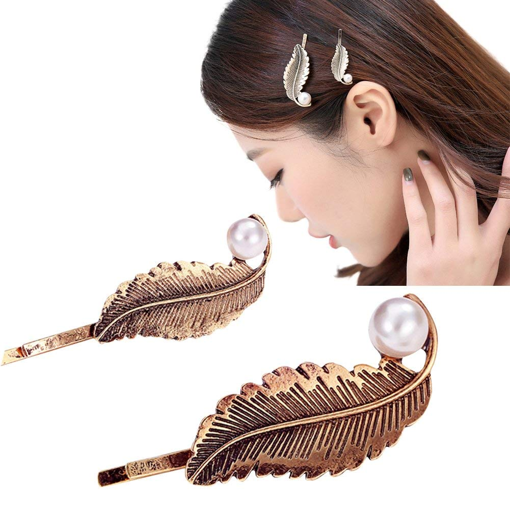 ShungFun Women Hairpins Vintage Bronze Leaf Pattern Hair Bow Clips Bobby Pins Hair Clasps Hair Holders Head Bows BB Clips w/Pearls For Little Girl Toddlers Keens Baby girls (2pcs/set)