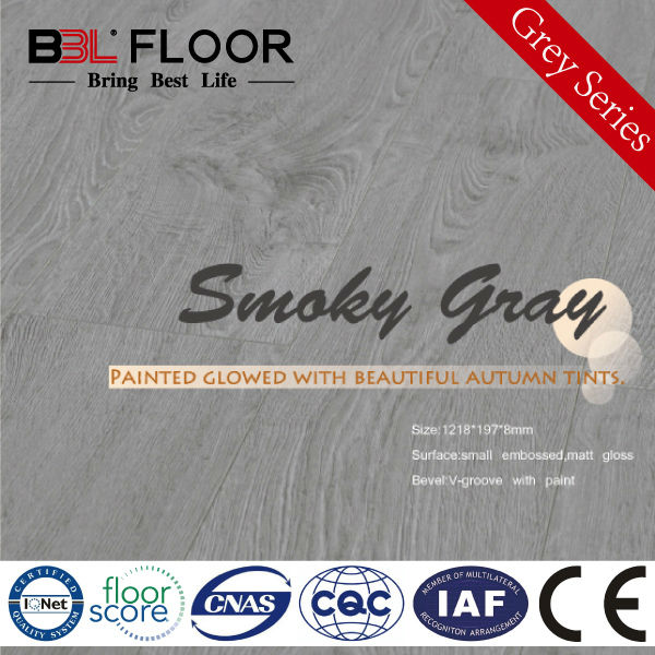 12mm AC4 Waxing Woodtexture Grey Series ulin flooring 9895-2