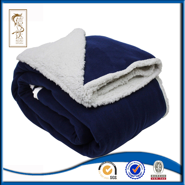 Front Solid Back Thick Wholesale Sherpa Blanket, Polar Fleece Blanket