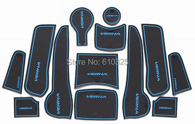 Car Blue Gate Slot Pad Cup Mat Armrest Storage Pad Anti-Slip Mat For HYUNDAI VERNA 2014 Retail/Set Free Shipping