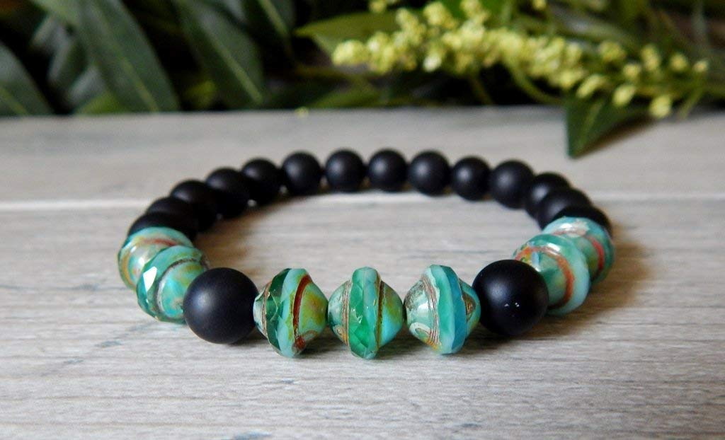Black Onyx and Turqoise Blue Green Gemstone Mens Boho Beaded Bracelet