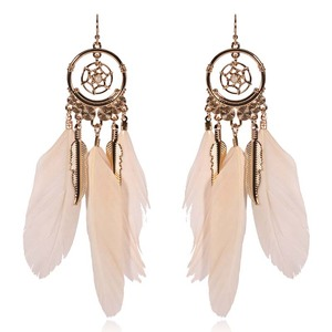 Wholesale new product earrings jewelry fashion vintage extra long beautiful feather hook earring