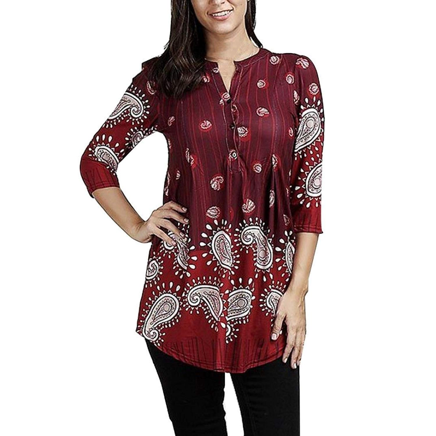 511bb9eecbc4e2 Paymenow Henley Shirts for Women Plus Size Vintage Floral 3 4 Sleeve Pleated