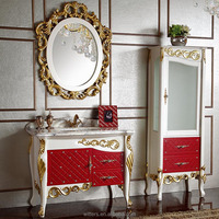 Luxurious Europe Style Single Sink Red Bathroom Vanity for Cloakroom WTS332