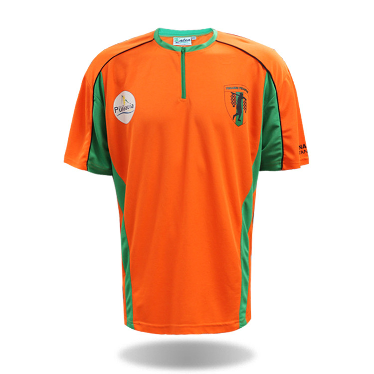 <strong>orange</strong> cheap sport 100 polyester t shirts with zipper collar