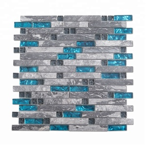 Glossy Strip Stone and Glass Mosaic Tile for Kitchen Backsplash