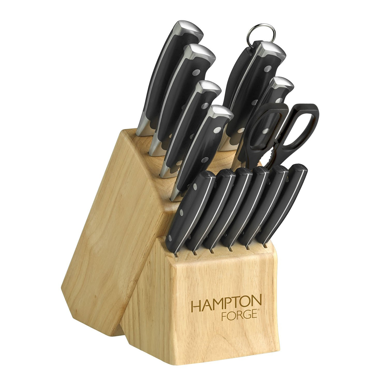 Hampton Forge 15 Piece Signature Madrid Cutlery Block Set, Metallic