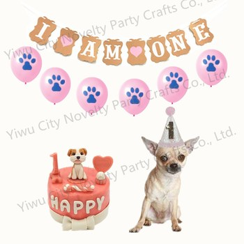 Puppy Funny Costume 1st Birthday Party Glitter Hat Banner Pet Decorations