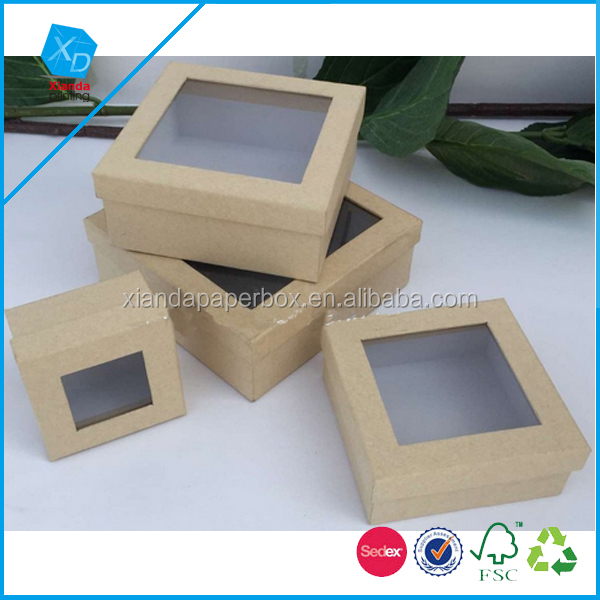 Different Sizes Kraft Paper Package Set Boxes with PVC Window