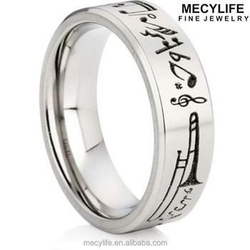 Mecylife Stainless Steel Wide Single Ring For Teens Music Note