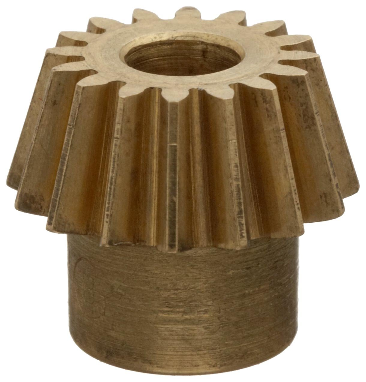 "Boston Gear G486Y-P Bevel Pinion Gear, 4:1 Ratio, 0.188"" Bore, 32 Pitch, 16 Teeth, 20 Degree Pressure Angle, Straight Bevel, Keyway, Brass"