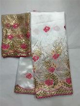 Вышитая Джордж кружевная ткань с блузкой для Индии Свадебные платья Белый 2020 Новая мода Золотая линия Гипюр кружево в грузинском стиле золо...(Китай)