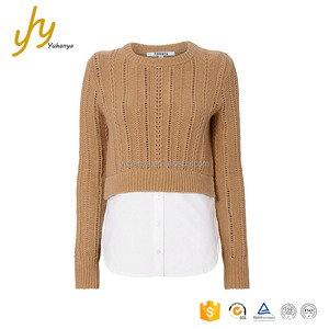 Long Sleeves Cropped Attached Button-Down Underlay High-Low Hem Open Weave Latest Design Ladies Sweater