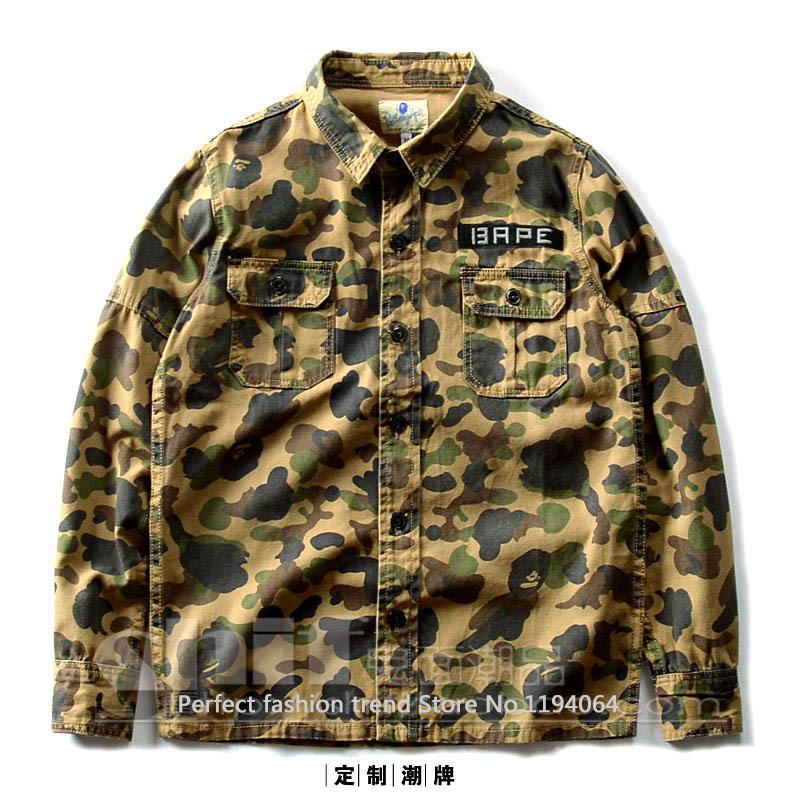 027f716ccc3 ... бесплатной доставкой. Элис одежда! Bape Брендовые Мужские камуфляжные  военной куртки рубашки повседневные длинные % 100 хлопок студент