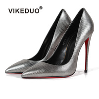 VIKEDUO Hand Made American Style 12 cm Silver Pumps Red Bottom Sole Super Sexy Shoes Very Heels Women Shoes 2018