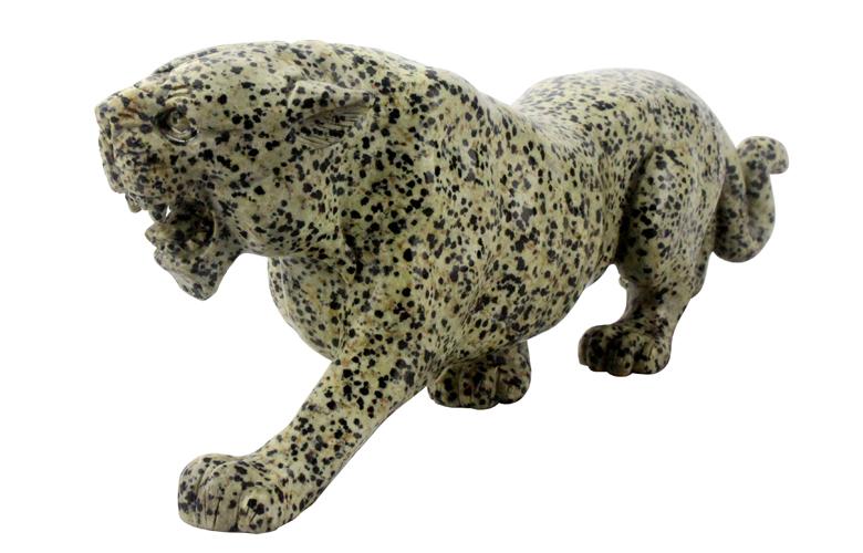 Jade Animal Carvings Dalmatian Japser Leopard Figurines