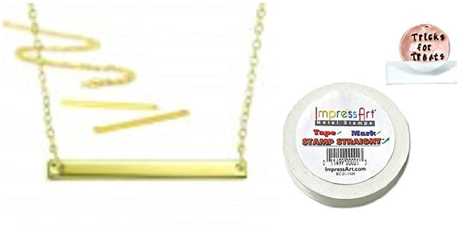 "ImpressArt FIVE (5) Necklace Kit. Gold Plate Plus Stamp Straight Tape. 3mm x 38mm (1/8"" x 1 1/2"") Large Rectangle Stamping Blank Plus 18"" Chain in Gold Plate"