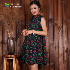 Customized Chinese Pattern Flower Cotton Dress
