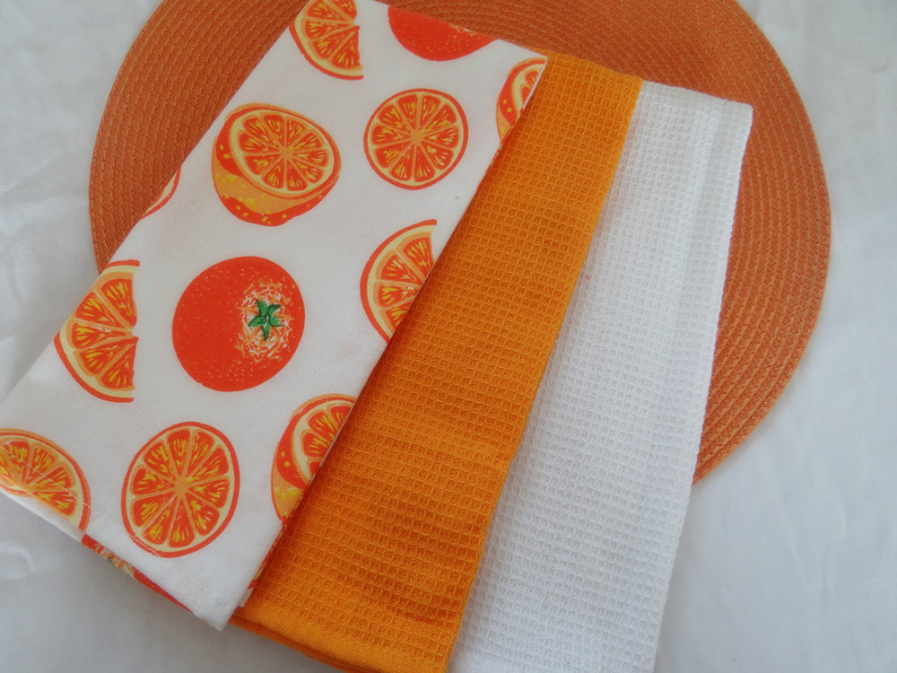 White Cotton Waffle Weave Kitchen Towels