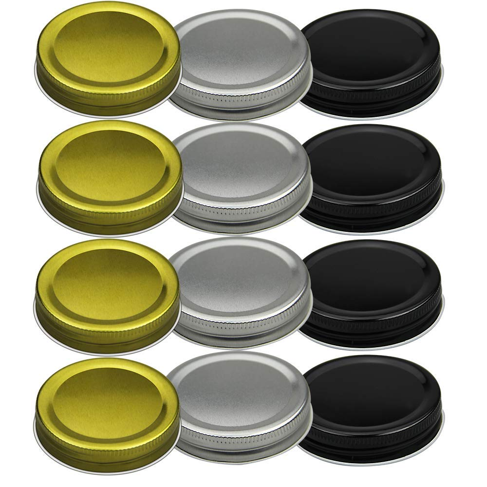 Connyam 12pcs Pack Regular Mouth Mason Jar Lids for Ball and More, Leak Proof and Secure (4 Golden + 4 Black + 4 Silver)