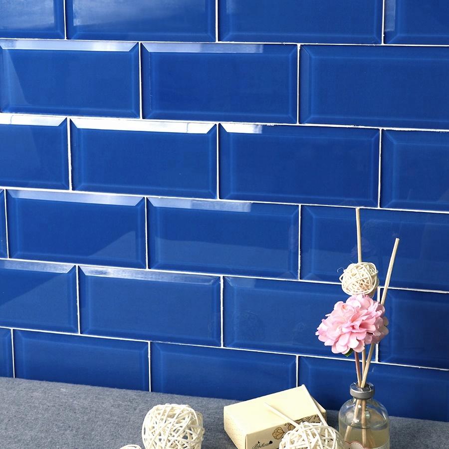 Mosaic Beveled Gl Subway Tile Blue