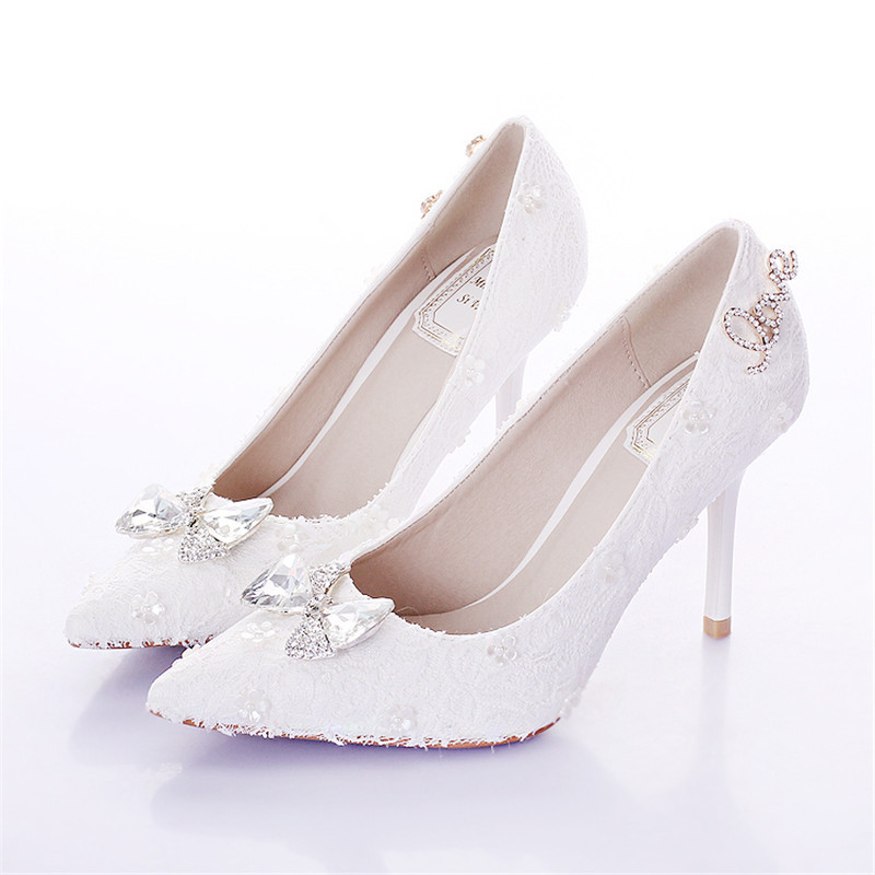 Buy New Fashion Handmade Wedding Shoes Pointed Toe Thin High Heel Dress White Lace Bridal Bow Tie Pumps In Cheap Price On