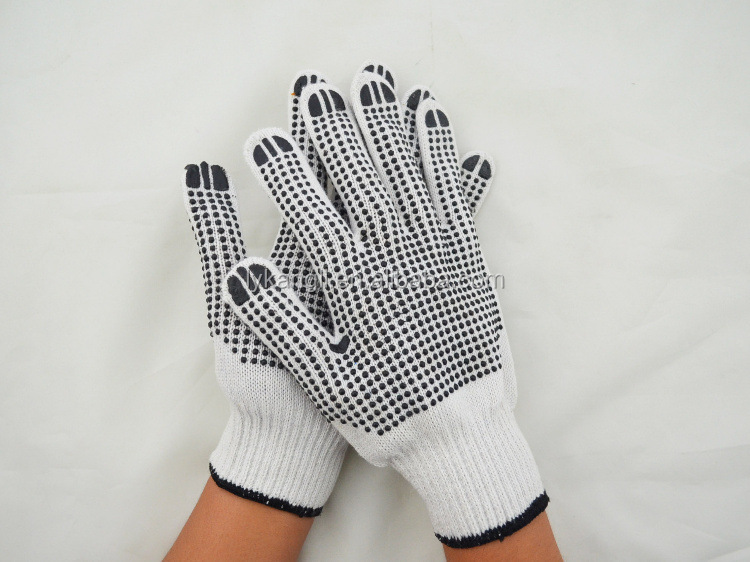 10g bleached white cotton string knitted working gloves with PVC points on palm 60g