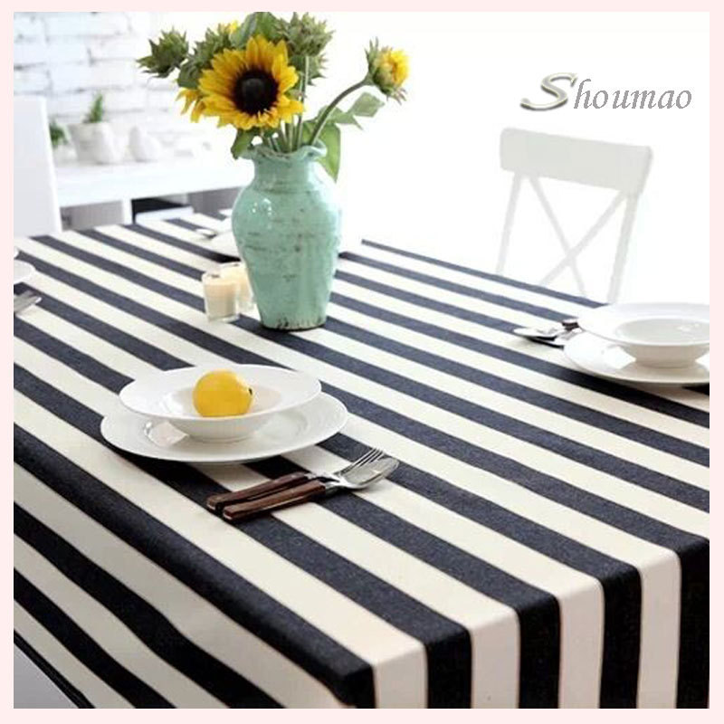 Hot Sale Cheap Black And White Striped Tablecloth Wedding